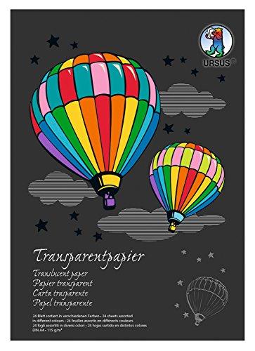 Ursus 12164699SE - Bastelblock papier DIN A4, 115 g, 24 Blatt, 17 Farben sortiert, transparent