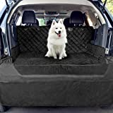 HANSPROU Cargo Liner for Dogs, Waterproof Pet Cargo Cover Dog Seat Cover Mat for SUVs Washable with Bumper Flap Protection 80 x 52 Black
