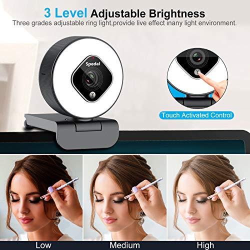 Webcam mit Ringlicht und Zoomobjektiv, Einstellbarer Helligkeit Erweiterte Autofokus- 1080P Webkamera mit Stativ und Mikrofonen, Streaming Webcam für Zoom Skype Facetime und YouTube, Windows Mac