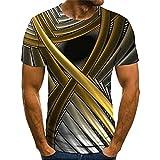 Ying T-Shirt Homme Moderne Urbaine Tendance Mode 3D Impression Homme Décontractées Chemises Été Couleur Unie Col Rond Coupe Régulière Manches Courtes Quotidien All-Match Sweat-Shirt B-002 5XL