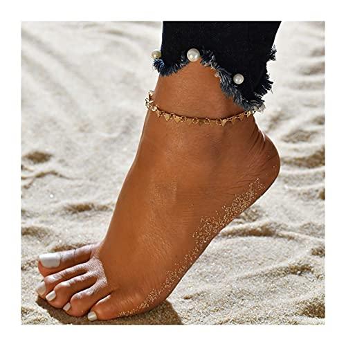 HETHYAN Tobillera de playa, color dorado, plateado, cadena de serpiente, para mujer, joyería de verano, a juego de pies (color de metal: estilo O)