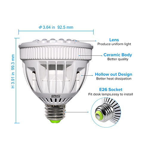 LED Plant Grow Lights, SANSI Red Light 15W Full Spectrum E26 LED Grow Lights Bulb for Indoor Plants, Grow Bulbs for Vegetable, Seedling, Hydroponics and Greenhouse