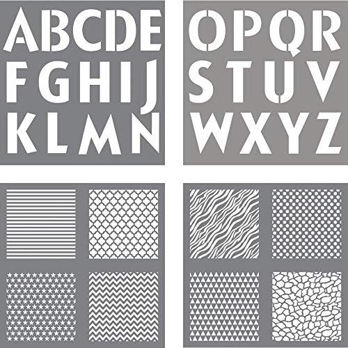 Rayher sjabloon letters plus designs, diverse, grijs, 3.3 x 3.1 x 0.03 cm