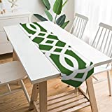 Table Runner Dresser Scarves,Modern Green and White Imperial Trellis Polyester Table Runner Cloth Cover For Home Kitchen, Dinner Partiy, Wedding, Events, Decor - 13 X 70 Inch
