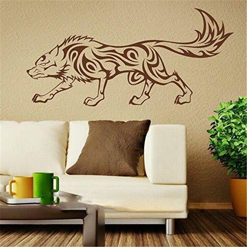 pegatinas de pared fluorescentes Lobo tribal etiqueta animal elegante decoración del hogar ahesive