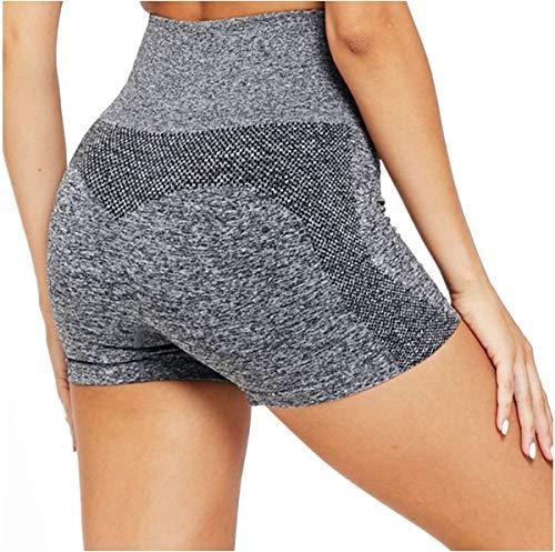 Odosalii Damen Sporthose Yoga Sportshorts Fitness Kurz Leggings Hohe Taille Hotpants Bauchkontrolle Boxershorts (Medium, Grau)
