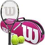 Wilson Hyper Hammer 5.3 Oversized/Extended Tennis Racquet (4 1/4' Grip) Set or Kit Bundled with a Pink/White Advantage 2-Pack Tennis Racket Bag a Can of Tennis Balls