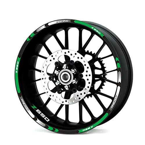 Racing 12 tiras motocicleta rueda exterior llanta decoración adhesivo reflectante borde pegatinas para Z650 etiqueta decoración