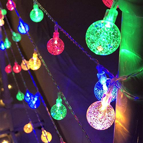Globe Ball String Lights 33 FT 80 LED Crystal Bubble Ball Fairy String Lights with Timer 8 Mode Remote, Decor for Bedroom Patio Indoor Outdoor Party Wedding Christmas Tree Garden Lawn - Multicolor