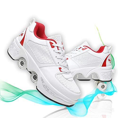 HealHeatersⓇ Rollschuhe Damen Mädchen Skateboards Schuhe Mit Rollen, 2 in 1 Verstellbare Quad Skate Rollerskates, Laufschuhe Sneakers Für Unisex 37-43,37