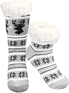 Christmas Fleece Slipper Socks for Womens Vintage Snowflake Fuzzy Lining Socks Winter Thick Warm Non Slip Socks