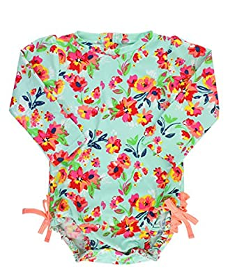 RuffleButts Baby/Toddler Girls Long Sleeve One Piece Swimsuit - Painted Flowers with UPF 50+ Sun Protection - 12-18m