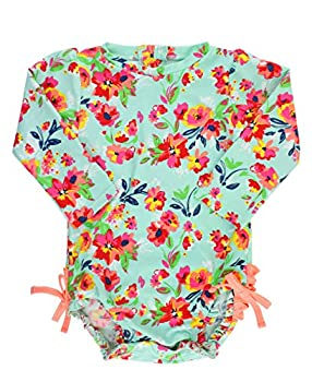 RuffleButts Baby/Toddler Girls Long Sleeve One Piece Swimsuit - Painted Flowers with UPF 50+ Sun Protection - 3T