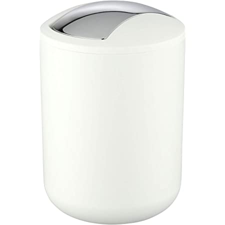 WENKO Poubelle Salle de Bain, Mini Poubelle Salle de Bain 2L, 14x21x14 cm, Blanc