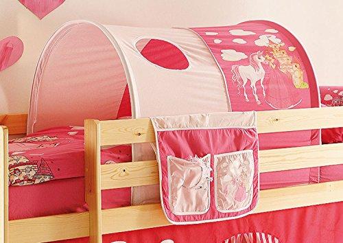 AVANTI TRENDSTORE - Konrad - Tunnel e Tasca per Letto a soppalco per Bambini, Stoffa in Cotone con Motivi Diversi. Dimensioni: Lap 90x76x100 cm (Rosa-Pink)