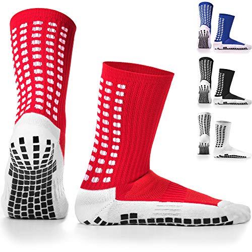 LUX Rutschfeste Fußball Socken, rutschfeste Sport Socken, Gummi-Pads, trusox/tocksox Style, Top Qualität, Basketball, Fußball, Wandern, Laufen, hier in weiß, schwarz, rot, blau Blau blau UK 5.5 - 11 (rot - rot)
