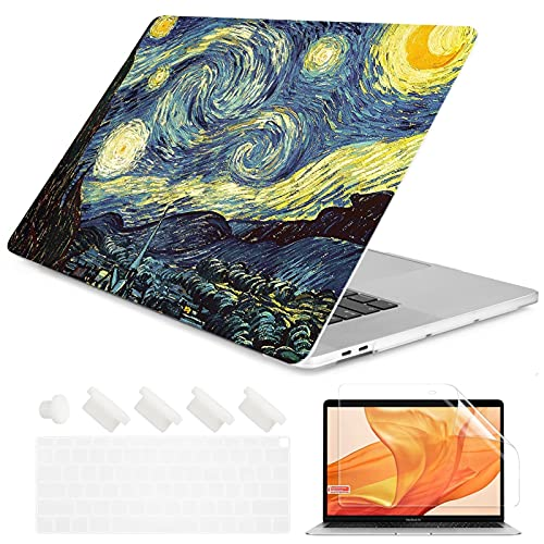 Crystal Clear Painting Flowers Laptop Case for A-p-p-l-e M-a-c-B-o-o-k Pro Retina 12 13 15 Touch Bar Air 11 13.3 2020 A2338 A2337 M1 (Color : 20, Size : Air 2020 A2179 A2337)