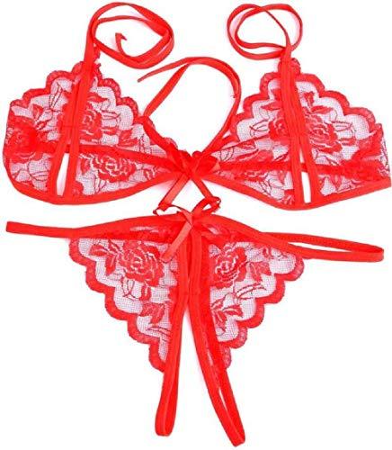 VindhWashni Women's Baby Doll Lingerie/Bikini Bra Panty Set Combo (Red,Black, Free Size)