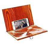 iSpchen - Lupa estereoscópica 3D para smartphone, soporte de madera de escritorio de 12 pulgadas, amplificador de proyector de vídeo HD para teléfono móvil, soporte plegable para todos los teléfonos