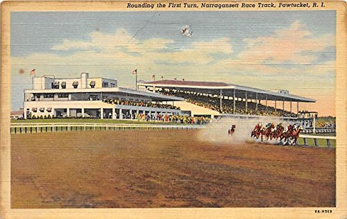 Rounding the First Turn, Narragansett Race Track Pawtucket, Rhode Island, RI, USA Old Vintage Horse Racing Postcard Post Card