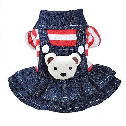 Saisiyiky pequeño Perros Accesorios Ropa Mascotas Disfraces suéter para Perros Trajes de Halloween Camisetas para Perrito Falda Vaquera con Correa Vestido de Cachorro de Perro (S)