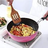 Sartén para wok, aleación de aluminio antiadherente, sartén portátil, fácil de limpiar, utensilios de cocina de gran capacidad Maifanstone, 26 cm (10,23 pulgadas), sartén rosa