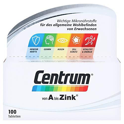 Centrum Von A bis Zink – Hochwertiges Nahrungsergänzungsmittel zur täglichen Komplettversorgung mit Mikronährstoffen – Vitamine, Mineralstoffe, Spurenelemente – 1 x 100 Tabletten, F000029068