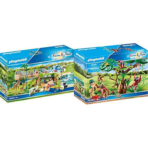 Playmobil Family Fun 70341 - La Grande Avventura Allo Zoo, dai 4 anni + Oranghi sugli Alberi Set di Gioco con Personaggi e Accessori, Multicolore, 70345