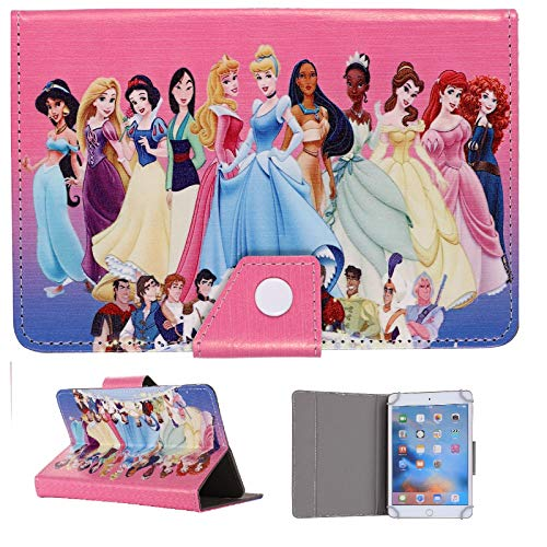 Universal Disney ~ Tablet Cases For 7 7' 8 8' 9.7 9.7' 10.1' inch ~ Kids Tab Cover Heros & Frozen Family ~ (Universal 7' (7' Inch), Prince & Princesses)