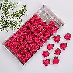 Idea Regalo - elegantstunning 50 Pezzi/Scatola Simulazione Rose Sapone Fatto a Mano Petalo Bagno Corpo Sapone casa Decorazione di Nozze Rosa Rossa