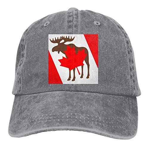 HESMENO Elch und Kanadische Flagge Griechische Freizeit Mode Hut Mode Sonnenschutz Atmungsaktive Kappe Baseball Hüte Gr. One size, grau