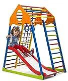 Centro de Actividades con Tobogán ˝Kindwood-Color-1˝, Red de Escalada, Anillos, Escalera Sueco, Campo de Juego Infantil