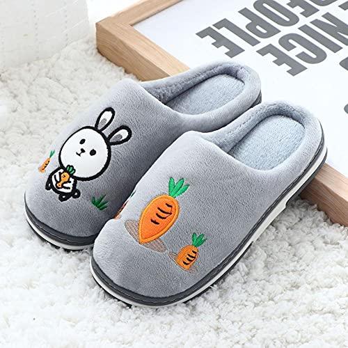 Zapatos Memory Algodón Pantuflas,Zapatillas de algodón de Invierno de casa de Dibujos Animados, Media Pack Caliente con Zapatillas de algodón-Gris de Conejo_38-39,Slippers Suave Algodón Zapatilla