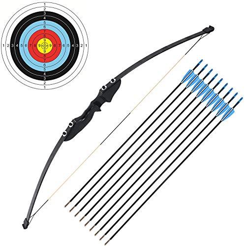 """Funtress 54""""Langer Bogen für Rechtshänder 30 LBs ziehen Gewicht Bogenschießen Bogenschießen Jagdspiel mit 9 Pfeilen 3 Zielpapier"""