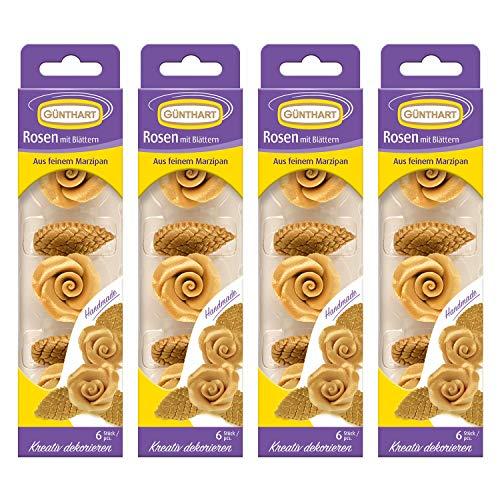 Günthart Marzipan-Rosen gold mit Blättern, 4er Pack (4x33g)