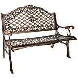 Cast Aluminum High-Back Settee Bench Black Brown Gold Traditional Polyester Steel Backed Water Resistant