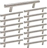 15 Pack homdiy Brushed Nickel Cabinet Pulls 3 Inch Kitchen Cabinet Handles Stain Steel Cabinet Hardware for Kitchen and Bathroom Cabinets, 5 Inch Overall Drawer Pull