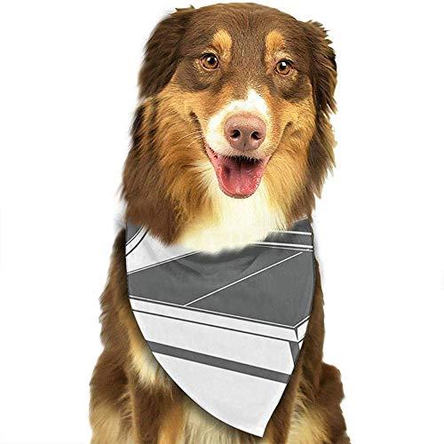 YAGEAD Pañuelo para Perros Cachorro y pañuelos para Mascotas, Ping Pong Monocromo en Raqueta de Mesa Vintage Bufanda pequeña para Mascotas