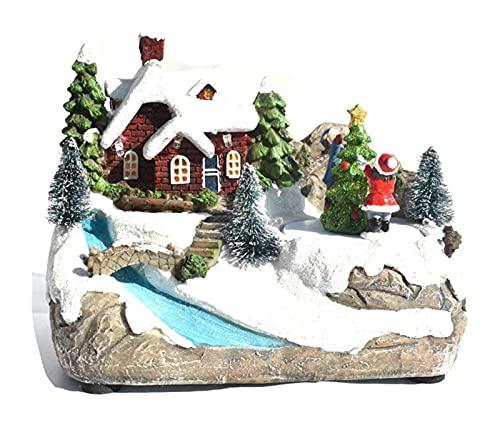 Juguete de la Navidad del ornamento, la luz de la nieve que brilla intensamente, la luz de la nieve, las decoraciones de pie estatuas figurillas, resina adornos de la casa de Navidad for la casa