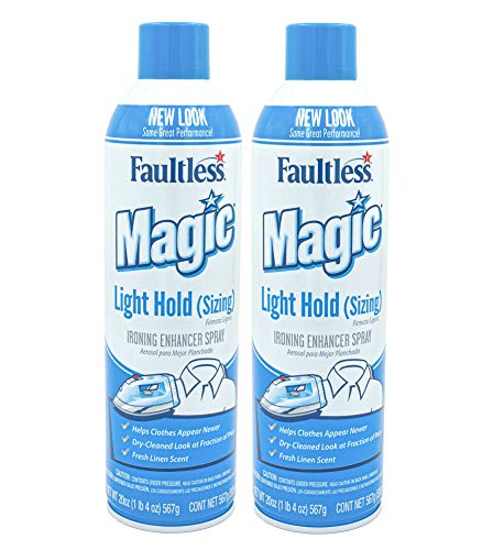 Magic Sizing Spray Light Body – No Flaking or Clogging! Light Ironing Spray – 20oz Wrinkle Iron Spray for Clothes (Pack of 2) – Fresh Linen Scent Finishing Spray