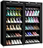 TXT&BAZ 36-Pairs Portable Shoe Rack Double Row with Nonwoven Fabric Cover (7-Tiers Black)...