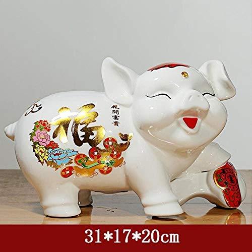 Erfhj keramiek rood varken figuur miniatuur standbeeld spaarvarken munt geld box decoratie accessoires, D