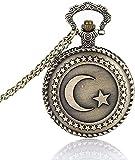 WYDSFWL Amantes del Collar Reloj de Bolsillo Reloj de Bolsillo de Bronce Antiguo diseño de la Bandera turca Tema de la Luna y la Estrella Reloj de Bolsillo de Cuarzo con Cadena de Regalo Regalo