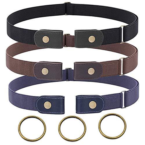 3 Piezas Cinturón Elástico Invisible Unisex Cinturón Elástico sin Hebilla para Mujer Hombre Cinturón Invisible Ajustable para Pantalones