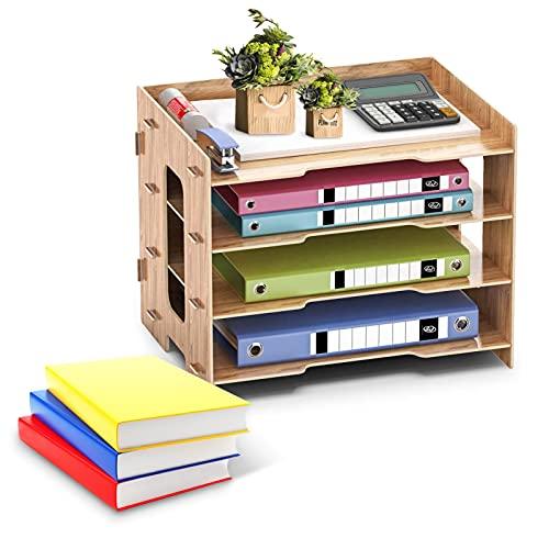 JOLIGAEA Organizador de Escritorio de Madera, Organizador Escritorio de Papelería para Papelería, A4, Sistema de Archivo de Documentos, 4 compartimentos, 33 x 24 x27cm