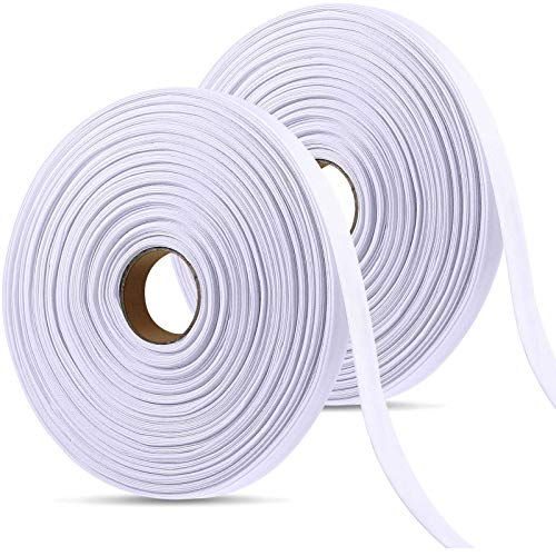 2 Rolls Single Fold Bias Tape Bias Binding Tape Sewing Bias Tape for Sewing, Seaming, Hemming, Piping, Quilting Supplies, 1/2 Inch Wide, 110 Yards in Total (White)