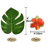 "Kuuqa 60 Stück Tropical Party Dekoration liefert 8 ""Tropical Palm Monstera Blätter und Hibiskusblüten, Simulation Blatt für hawaiische Luau Party Jungle Beach Thema Tischdekoration - 5"