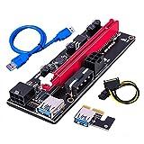 GPUマイニング駆動ライザーアダプタカード、60cm USB 3.0ケーブル、4つの6ピン、モレックス3の電源オプション、VER 009Sの2つの6ピンとモレックス3の電源オプションのためのPCIeライザー1x (1個(黒))