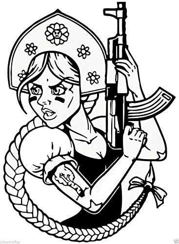 MFX Design Funny Russian Girl with Ak-47 Bumper...