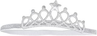 Amosfun Baby Girl Crown Headbands Glitter Princess Tiara Hair Bands for Newborn Toddler Birthday Baby Shower Party Photography (Silver)